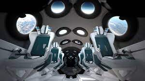 Interior of the rocket-propelled aircraft SpaceShipTwo which carried the first four space tourists, including Richard Branson Credit: Virgin Galactic