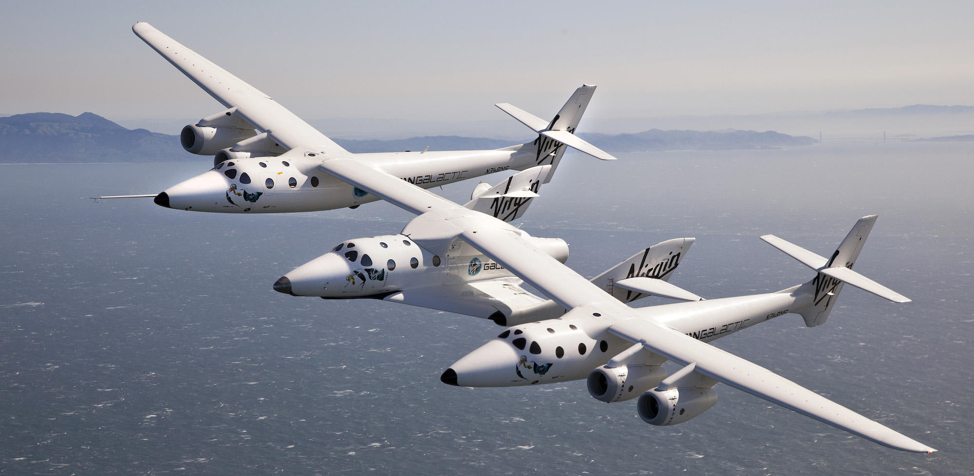 VMS WhiteKnight the carrier aircraft of SpaceShipTwo, which transported the passengers including Richard Branson for the first suborbital tourist flight Credit: Virgin Galactic