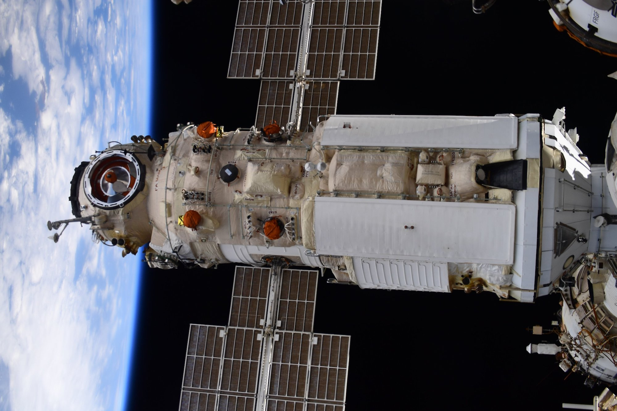 Nauka docked with the ISS.  A photo by the American Shane Kimbrough. Credit: NASA/Shane Kimbrough