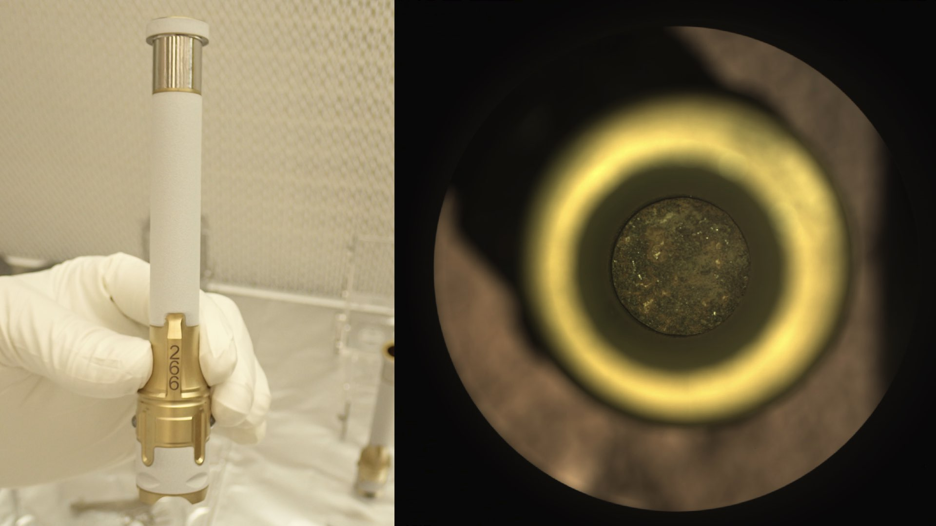 On the left: Photo on Earth of one of the 43 tubes which Perseverance took with it. On the right: the sample of 1 September resulted in a tube containing samples.